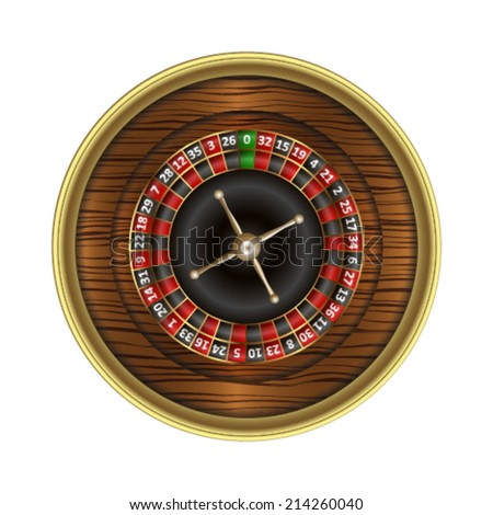 Wooden roulette wheel. Vector illustration.