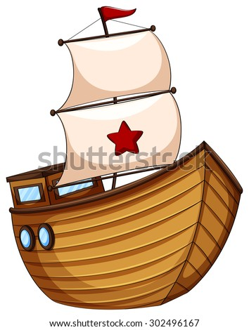 Wooden Sailboat With Flag Illustration