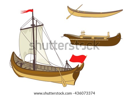 wooden sailing boats on white. vector illustration - stock vector