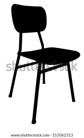Wooden school chair black silhouette used in the classroom. Vector illustration isolated on white background .