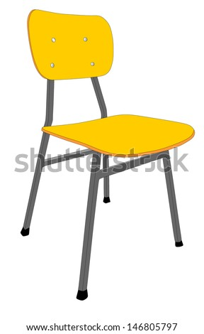 Wooden School Chair Used In The Classroom With Stand Vector Illustration Isolated On