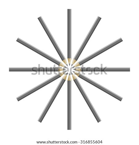 Wooden sharp pencil isolated on white background, vector