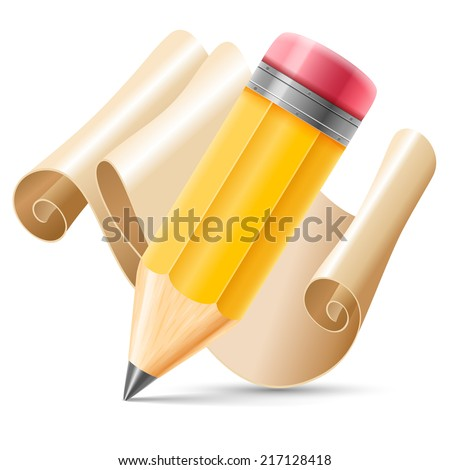 Wooden sharpened pencil and scroll paper isolated on white background. Detailed vector illustration.