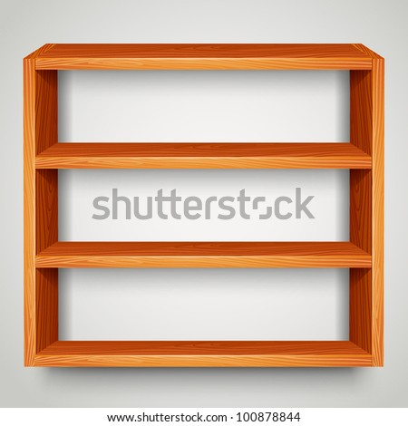 wooden shelf - stock vector