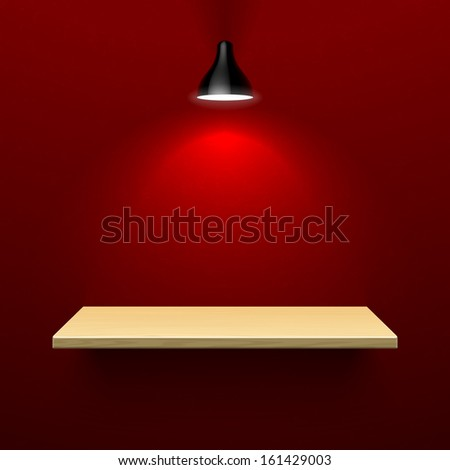 Wooden shelf illuminated by lamp. Vector.