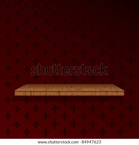 Wooden shelf on a red wallpaper