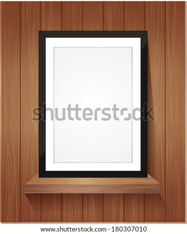 wooden shelf with frame picture frame vector.
