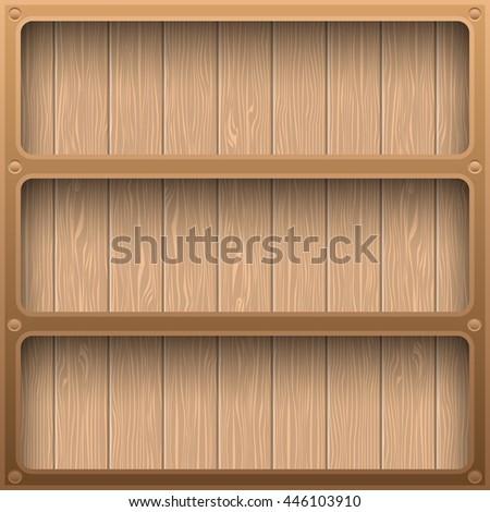 Wooden shelves modern design with long shadow. vector illustration - stock vector