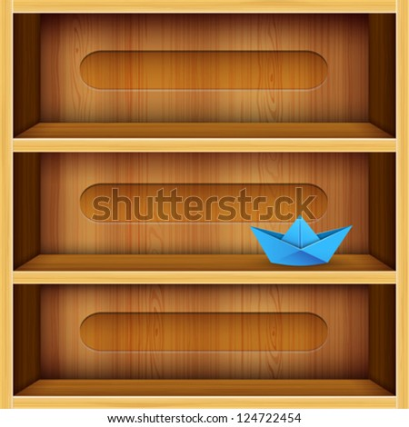 wooden shelves vector illustration - stock vector