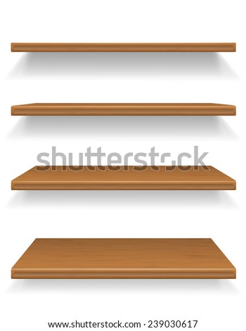 wooden shelves vector illustration isolated on white background