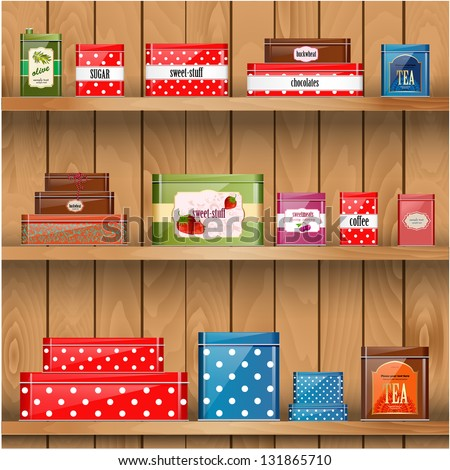 Wooden shelves with metal boxes - stock vector