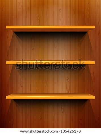 Wooden shelves with place for your exhibits, seamless wooden background, vector illustration, eps10, 2 layers, easy editable