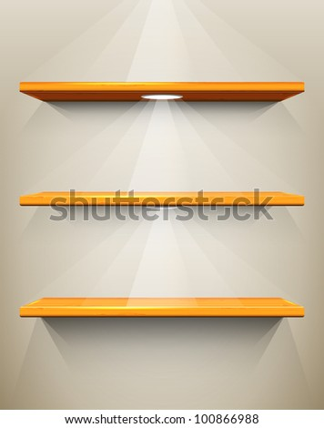 Wooden shelves with place for your exhibits, vector illustration, eps10, 3 layers, easy editable - stock vector