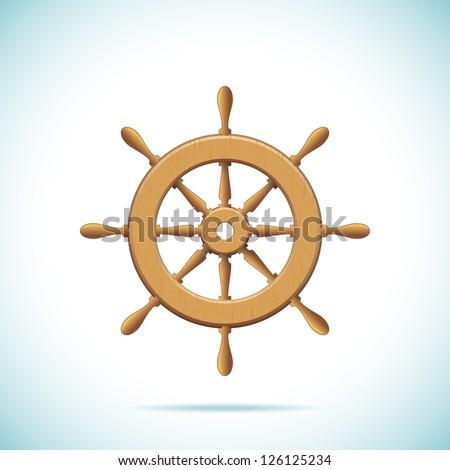 Wooden ship wheel. Vector illustration - stock vector