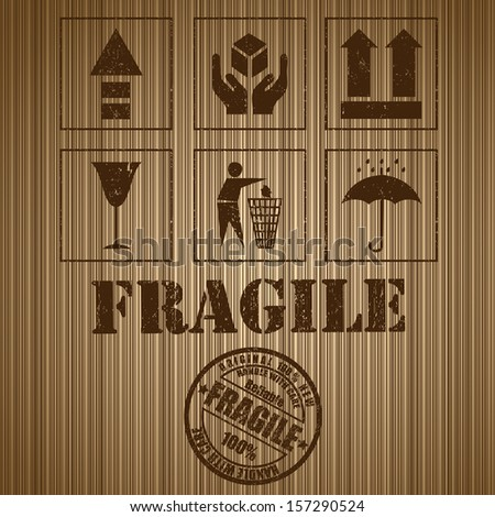 Wooden shipping box with fragile signs and stamp. Vector - stock vector