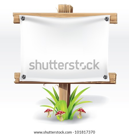 Wooden sign and paper on a grass with mushrooms. vector illustration - stock vector