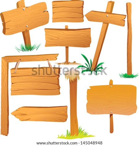 Wooden sign boards, cartoon style,