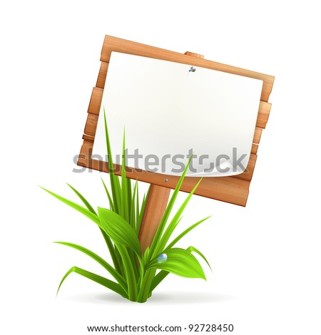 Wooden sign in grass, 10eps - stock vector