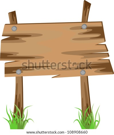 Wooden sign on a grass, vector illustration - stock vector