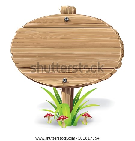 Wooden sign on a grass with mushrooms. vector illustration - stock vector