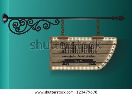 wooden sign on the chains / vector background 2 - stock vector