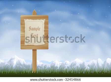 Wooden sign post with a sheet of parchment hanging on it - stock vector
