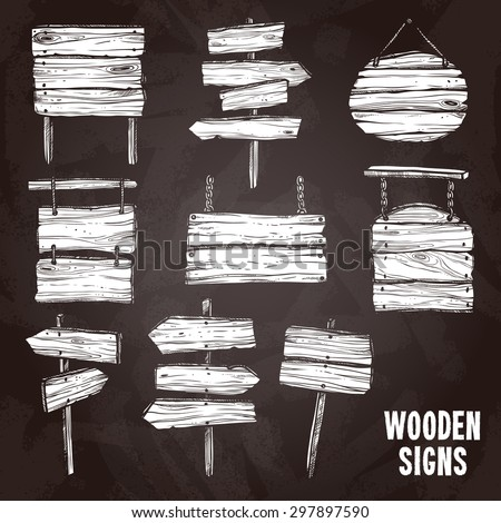 Wooden sign posts and boards on chalkboard flat sketch icon set isolated vector illustration - stock vector