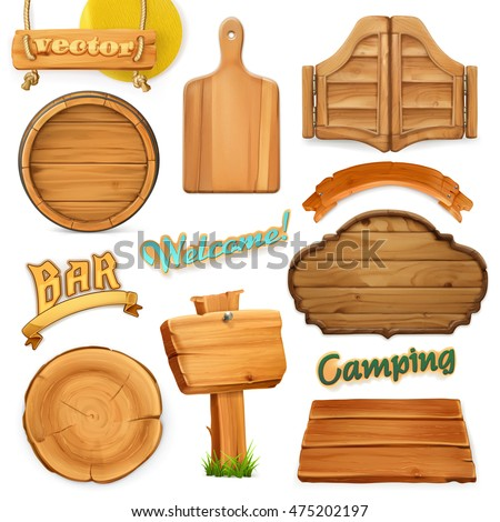 Wooden sign set. Template for logo, emblem. Wood texture. 3d vector icon