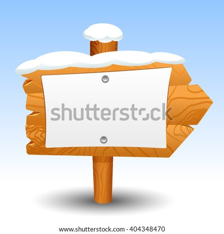 Wooden sign snow, post, icon, symbol, label, pointer - stock vector
