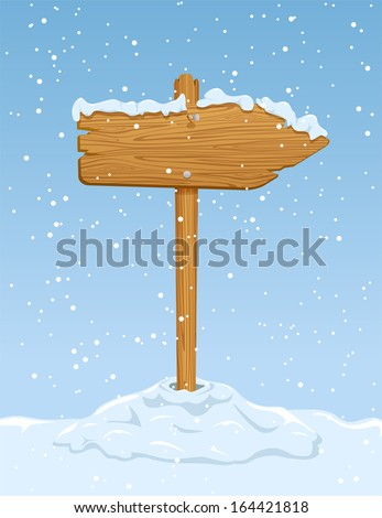 Wooden sign with falling snow on blue sky background, illustration. - stock vector