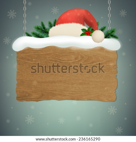 Wooden Sign With Gradient Mesh, Vector Illustration - stock vector