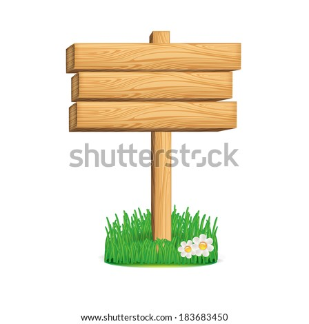 wooden sign with grass and flowers isolated on white background