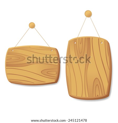 wooden sign with rope hanging on a nail  - stock vector