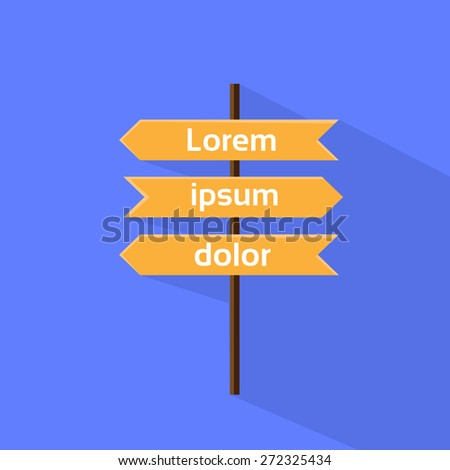 Wooden Signboard Icon Sign Flat Vector Illustration