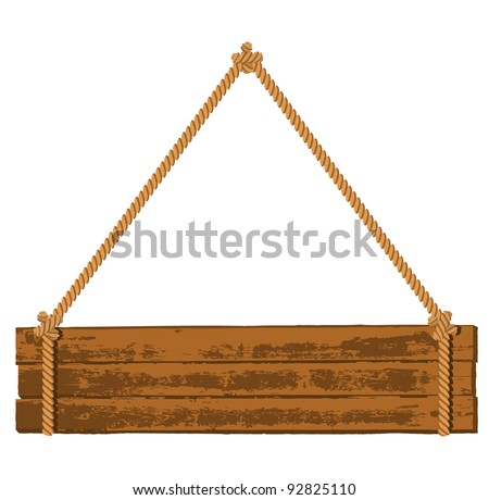 Wooden signboard on the rope - stock vector