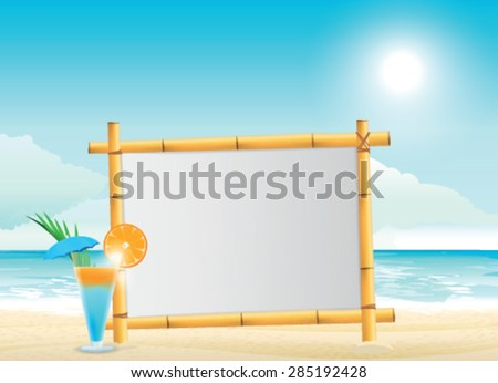 wooden signboard on tropical beach - stock vector