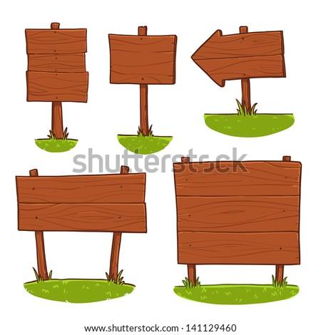 wooden signboard set - stock vector