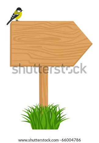 Wooden signboard with cute bird on it. Object isolated for Your design - stock vector