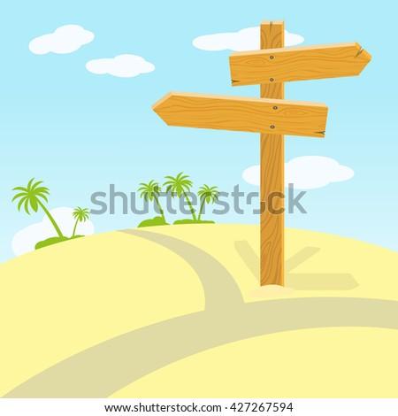 Wooden signpost at crossroads in desert on sunny day. Vector illustration - stock vector