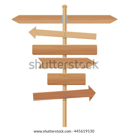 wooden signpost vector illustration isolated on a white background - stock vector