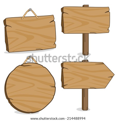 Wooden signs. A set of wooden hanging signs and signposts. - stock vector