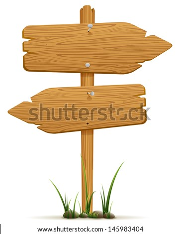 Wooden signs in a grass, isolated on white background, illustration. - stock vector