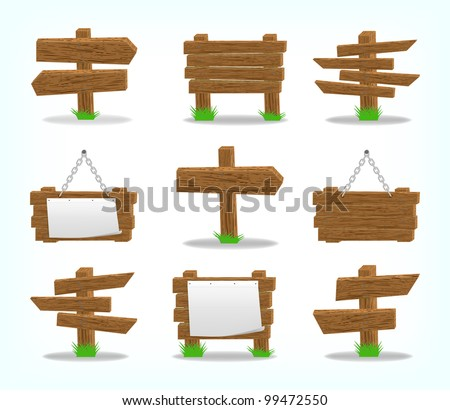 Wooden signs set, 10eps. - stock vector