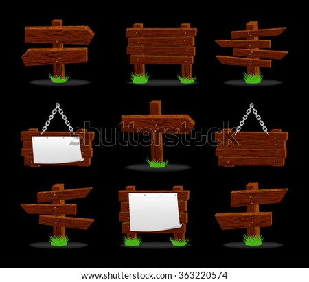 Wooden signs set on black, vector, 10eps.