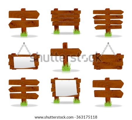 Wooden signs set, vector, 10eps.