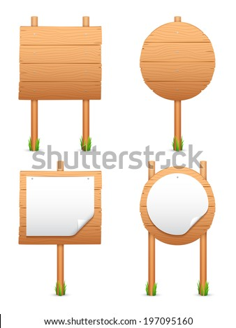 Wooden signs with nailed paper. - stock vector