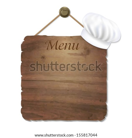 Wooden Sing With Cook Cap With Gradient Mesh, Vector Illustration - stock vector