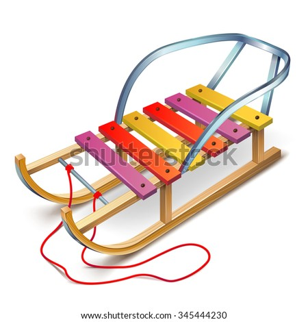 Wooden sled with a rope and a back seating, sleigh, sledge - stock vector
