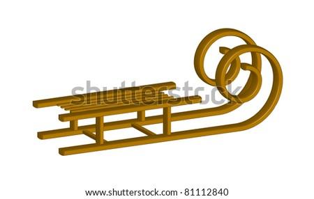 Wooden Sledge - stock vector