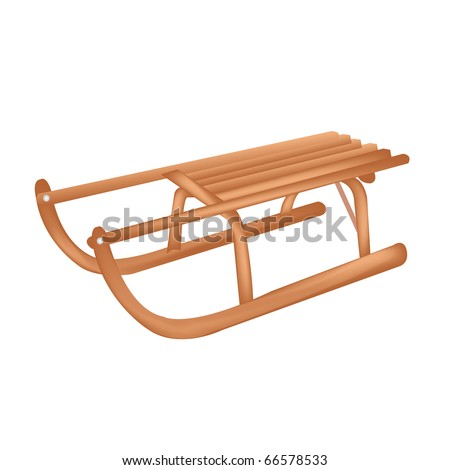 Wooden Sledge, Isolated On White Background, Vector Illustration - stock vector
